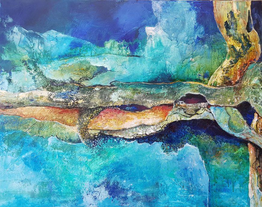 """Angelique van den Born. Abstract """"Vergroeid"""". Acryl op doek. 70 x 90 cm."""