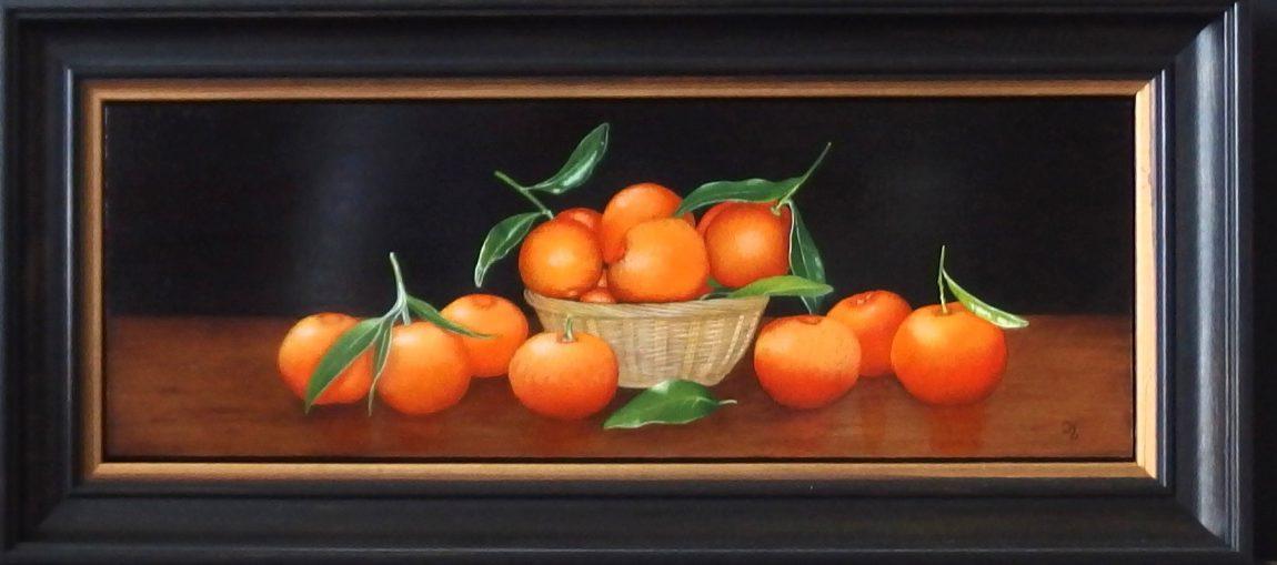 Joke van Olm-Koenen. Mand met mandarijnen. Ingelijst 22x48 cm. Prijs op aanvraag.