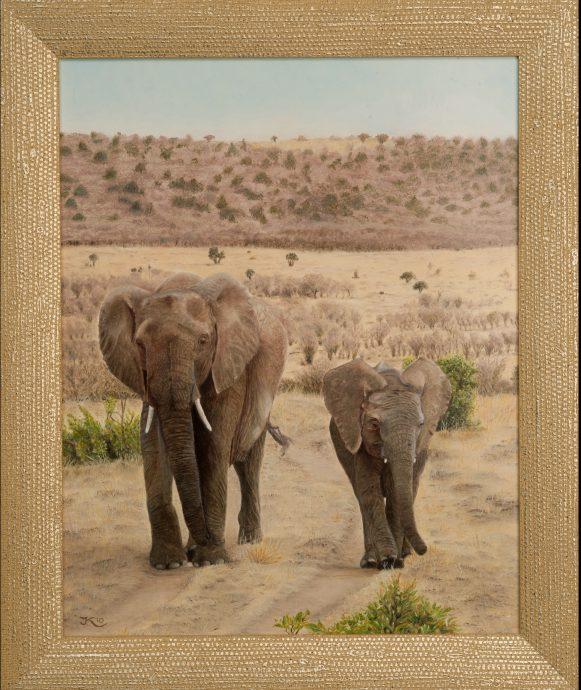 Joke van Olm-Koenen. Olifant met jong.  35 x 28 ingelijst 41.5 x 34. Prijs op aanvraag