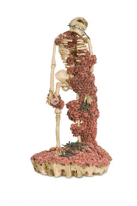 Leon Strous. Skeleton-Lover. Keramische sculptuur, 42 cm