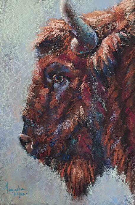 Bullseye. Pastel op granularboard. 43x61 cm. €1150,-