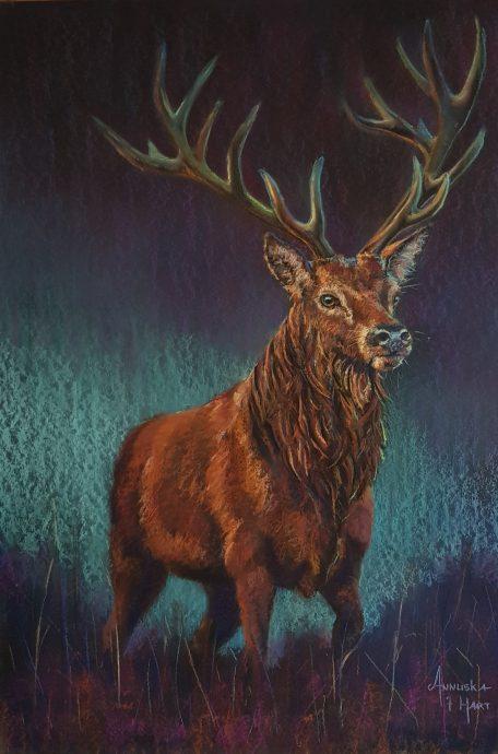 Red deer. Pastel op granularboard. 70x100 cm. €1550,-
