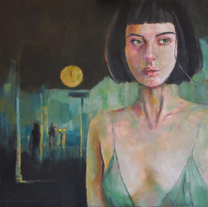 JUST ON TIME. 2021. Oil on panel. 90x90 cm.