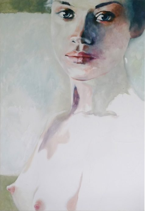 NUDE WOMAN STARING AT YOU. 2015. Oil on panel. 150x100 cm.