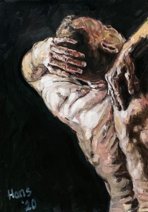 Hans van Weerd. Adam in Black. 2020. Oil on paper. 71 x 50 cm. €1.295,00