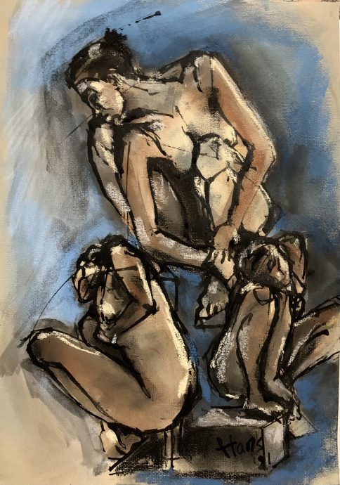 Hans van Weerd. Crouching Woman - after Rodin. 2021. Ink and pastel on paper. 41 x 28 cm. €795,00