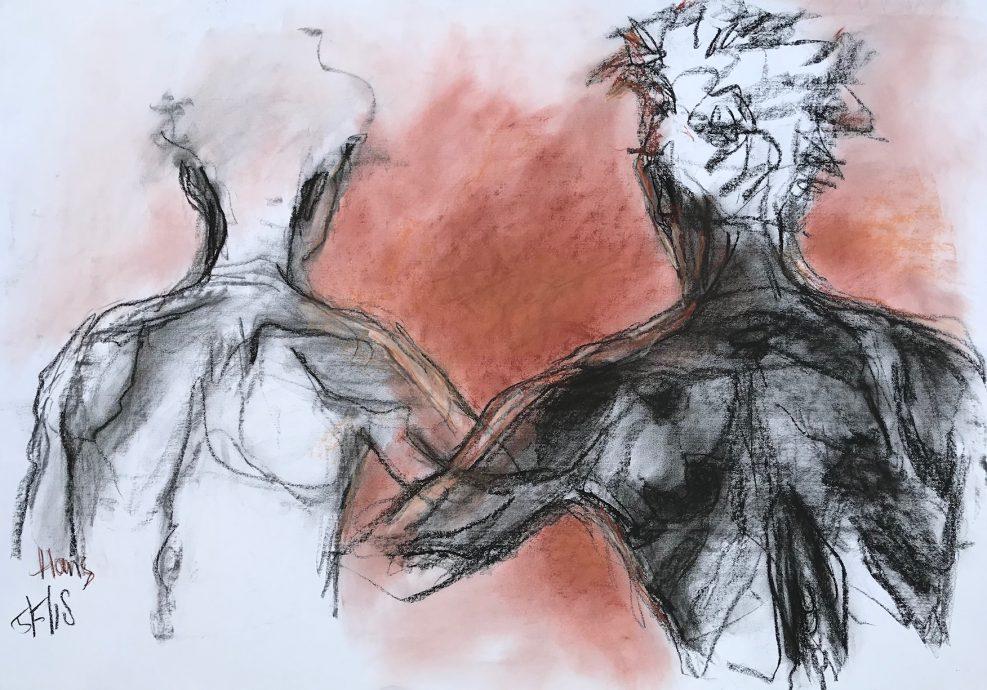Hans van Weerd. Gemini. 2018. Conté on paper. 58 x 72 cm. $1,495