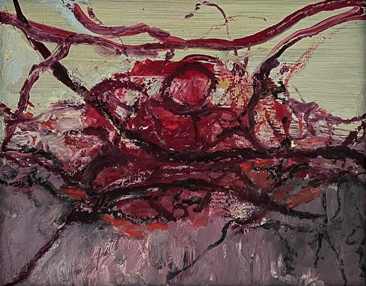 Landscape in red. 2021. Olieverf. 24x30 cm. Ingelijst 34x39 cm.