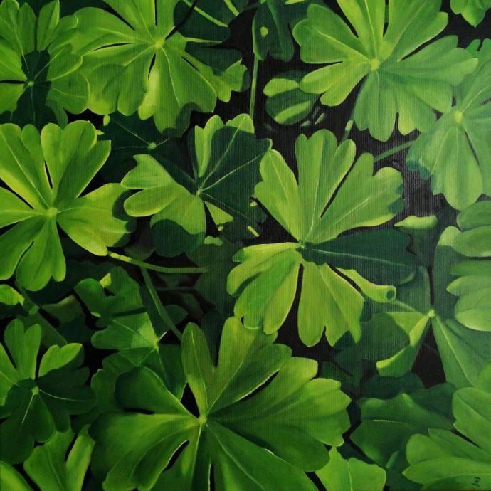 Green leaves no 2. 60x60 cm.