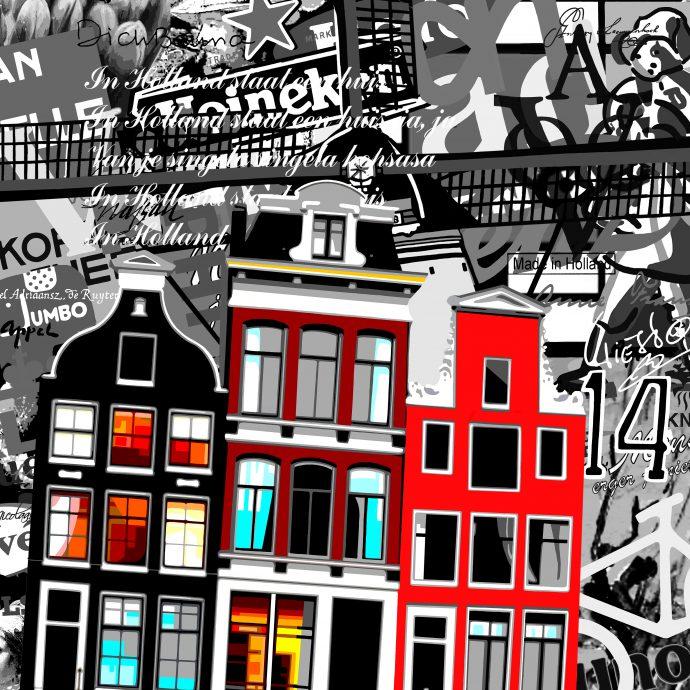 Annejole Jacobs-de Jongh. Made in Holland - 'Amsterdam'. 2017. Mixed media (acrylverf op een geprinte achtergrond op canvas. 100x100x4 cm.