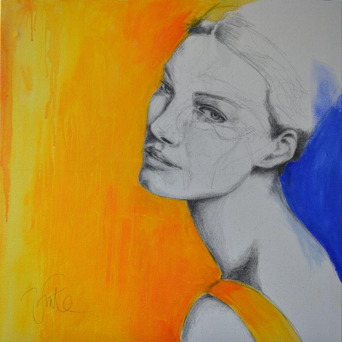 Begona Lafuente. Silent Thoughts. Acrylverf en potlood op katoenen doek. 90x90 cm.