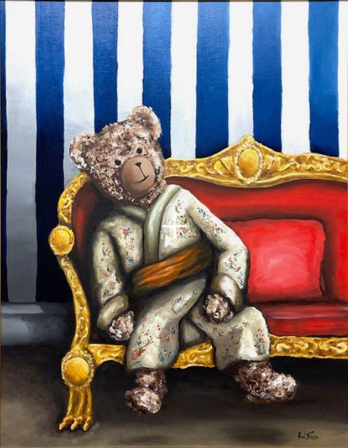 Sir Bobby de teddybeer, geïnspireerd door Breitner, Sir Bobby in kimono. Olieverf. Ingelijst. 80x100 cm. €5900,-